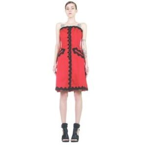 Vintage Bill Blass Red Black Corset Dress